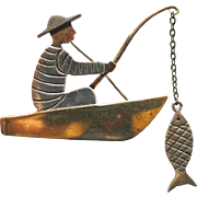 Vintage Mimi Castillo (Los Castillo) Sterling Taxco Mexico Fisherman Brooch