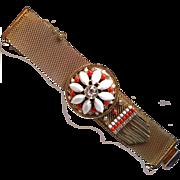 Hobe white & faux coral rhinestone mesh bracelet with tassel