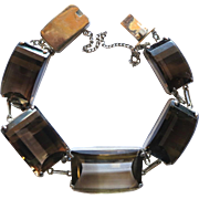 Vintage Japan Sterling Silver Fancy Cut Smoky Quart Bracelet