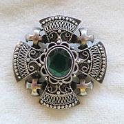 Jerusalem Cross 950 Sterling Brooch with Emerald Green Glass