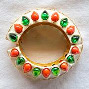 KJL Mogul style white enamel, orange & green cabochons hinged bracelet BOOK PIECE!