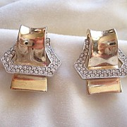 Large Ledo Polcini rhinestone buckle clip earrings