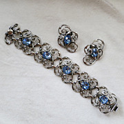 Beautiful Napier silver and blue rhinestone bracelet & earrings