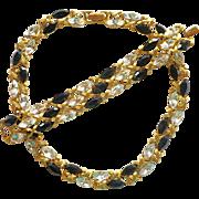 Napier Clear and Jet Black Rhinestone Necklace & Bracelet Book Piece!