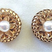 Rousselet made in France faux pearl clip earrings