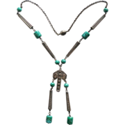 Art Deco Style Silver Plated and Green Glass Beads Pendant Necklace