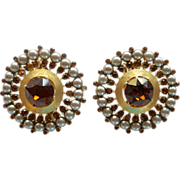 Trifari Faux Pearl and Topaz Rhinestone Clip Earrings