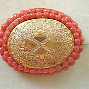 SALE Antique Victorian rolled gold brooch with coral beads