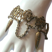 SALE Victorian Ornate Brass Dangles Bracelet
