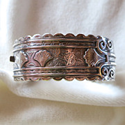SALE Victorian Birmingham Sterling Aesthetic Movement Hinged Bracelet