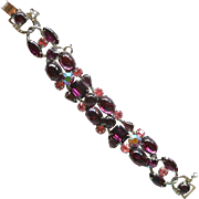 Weiss Purple Cabochon and Pink Rhinestone Link Bracelet