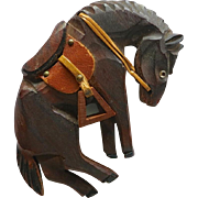 Large Wooden Bucking Bronco Horse Brooch Leather Saddle