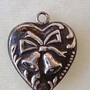 Vintage Sterling Wedding or Christmas Bells Puffy Heart Charm