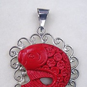 Sterling silver carved faux cinnabar fish pendant