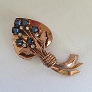 Coro Craft sterling vermeil blue rhinestone leaf brooch