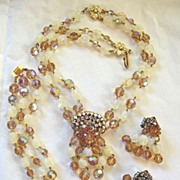 Outstanding Austrian crystal, glass beads, and rhinestone parure DeMario style!