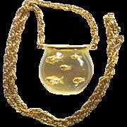 Vintage Lucite Fishbowl Pendant Necklace Castlecliff Style