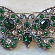 Vintage 1930's pot metal green and clear rhinestone butterfly brooch