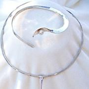 SALE Modernist Hopkins sterling and pearl collar necklace & bracelet