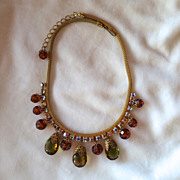 D&E Juliana mesh necklace with topaz and green crystal dangles & rhinestones BOOK PIECE!