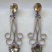 SALE Long, graceful sterling silver & citrine dangle pierced earrings