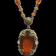 Czech Faux Topaz Crystal Bead & Enamel Necklace