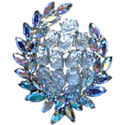 Crown Trifari Etoile Blue Lava Rock & Navette brooch