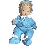 SOLD Toby, Rare Chad Valley Baby Bambina Cloth Doll , Glass Eyes, 1930's