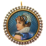 Incredible Portrait Brooch--Enamel, Pearls,& Diamonds