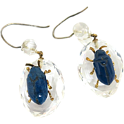 "Dynamic Victorian Rock Crystal & Lapis ""Bug"" Earrings"