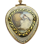 French Georgian Reverse Painted Pendant
