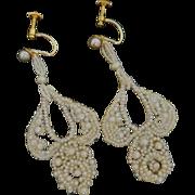 Exquisite Georgian Seed Pearl Earrings