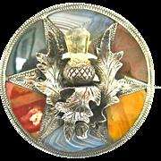 Stunning Agate & Sterling Victorian Scottish Brooch