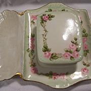 SOLD Antique Limoges France Rose Decorated Sardine Box & Matching Serving Tray Platter Signed