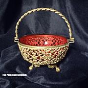 Victorian gilt metal and cranberry glass sugar basket
