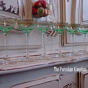 Art Deco set 6 hand blown uranium glass cordials gold painted Greek key  design stemware green