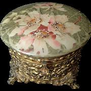 Rare Large Nakara C.F. Monroe gilt reticulated hinged footed jewel box hand enameled flowers