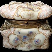 Extra Large Wavecrest C.F. Monroe Egg Crate Mold lace enamel hinged jewel box hand enameled pa
