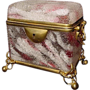 Moser Harrach Cranberry White Spatter Glass Dome Top Glass & Gilt Ormolu Double Handle Jewel .