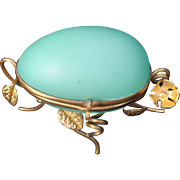SALE Antique French Casket Green Opaline Glass Egg Box on Gilt Floral Ormolu Stand