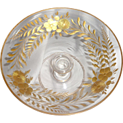 SOLD Vintage Glass Tazza Compote Pedestal Candy Dish with Hand Painted Gold Flowers and Leaves