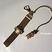 Antique S.O. Bigney gold filled woven mesh watch fob chain dated 1906
