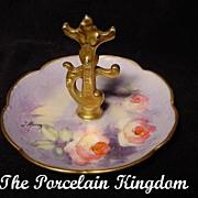 Limoges Purple Roses Heavy Gold French Porcelain Ring Holder J. Morsey