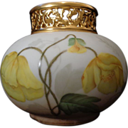 Antique Limoges French porcelain gold pierced collared vase hand painted yellow poppies larges