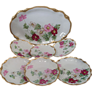 Antique French Limoges pink wild roses ice cream dessert set tray and six plates listed ...