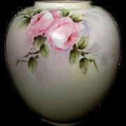 Noritake Nippon Petite Antique Hand Painted Pink Roses Vase