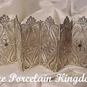 Silver filigree folding hinged miniature paneled screen