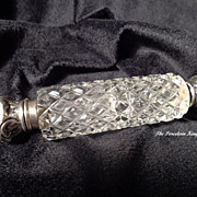 Victorian sterling silver and cut glass double ended laydown perfume bottle