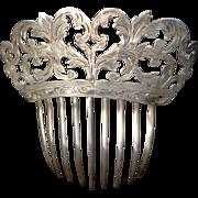 SALE PENDING Silver Art Nouveau Engraved Floral Hair Comb