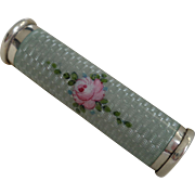 Sterling Silver Blue Guilloche Enamel Hinged Mechanical Lipstick Holder with Pink Roses c. 193
